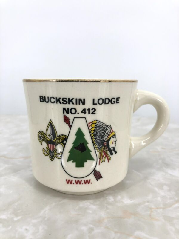 Vintage Boy Scout BSA Coffee Cup Mug Buckskin Lodge NO. 412