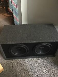 "2 10"" Kenwood Subs in box with 1000W Amp"
