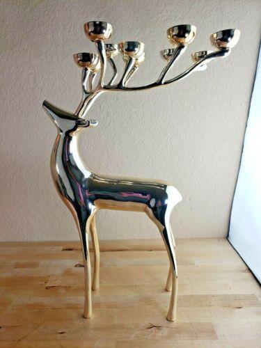 "Pottery Barn Silver/Brass 20"" Reindeer Candelabra 10 Candle Holder Christmas"