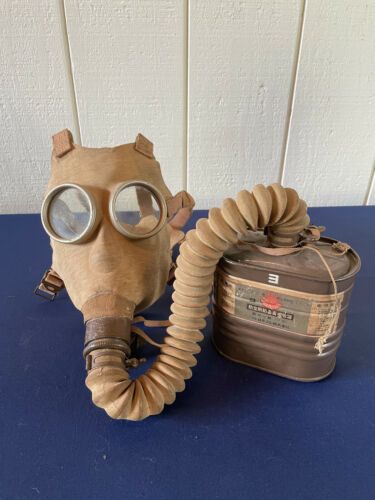 WWII Japanese Type 99 Gas Mask with Gas Cannister Attatched to Hose