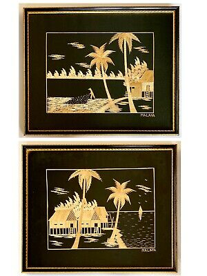 Vintage pair of Asian bamboo wood pictures - Malaya (Malaysia) village scenes
