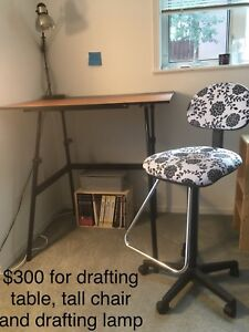 Drafting table, chair and lamp