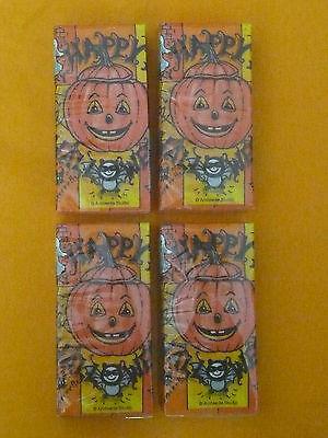 """HALLOWEEN! Bedruckte Papier-Taschentücher """"KÜRBIS"""", in gelb/orange,4 Packungen!"""