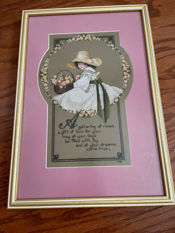 A GATHERING OF ROSES Young Girl w/Flower Basket Cross Stitch Complete Mat Frame