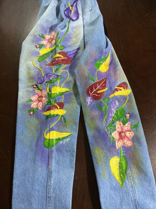 Vintage Joujou Womens High Waisted Floral Hand Painted Denim Jeans Sz 28X29