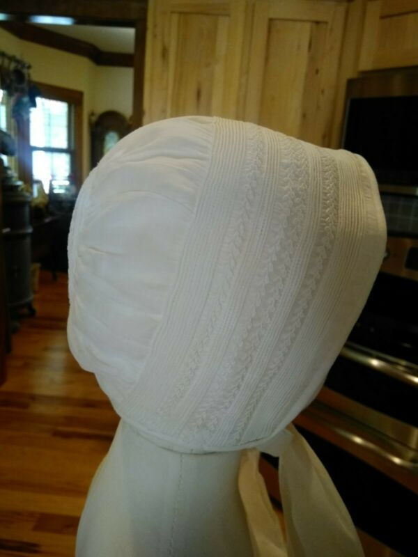Antique Baby Bonnet/Hat 1900c Embroidery/ Edwardian/Ivory
