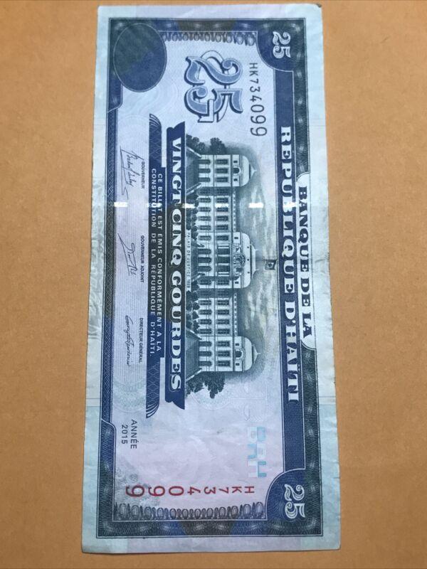 Haiti 25 Gourdes Circulated Paper Money Dated 2015