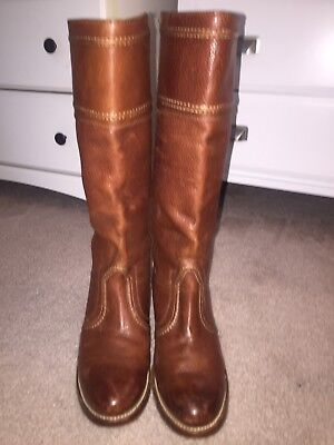 FRYE Jane Stitch Tall Leather Boots 77230 Redwood Brown - Size -