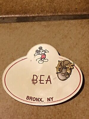 Disney Name Tag Vintage Staff Cast Member Badge Employee Pin Mickey Mouse BEA