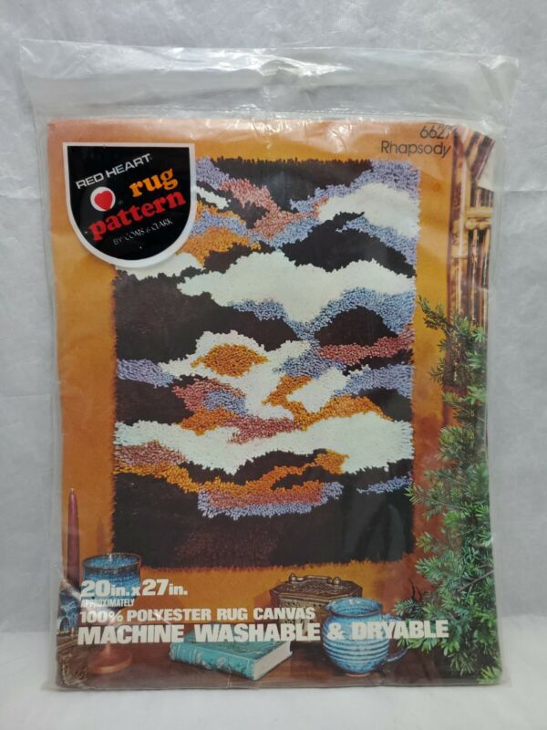 "Vintage Red Heart Latch Hook Rug Pattern 6627 Rhapsody 20"" x 27"" Canvas Only NEW"