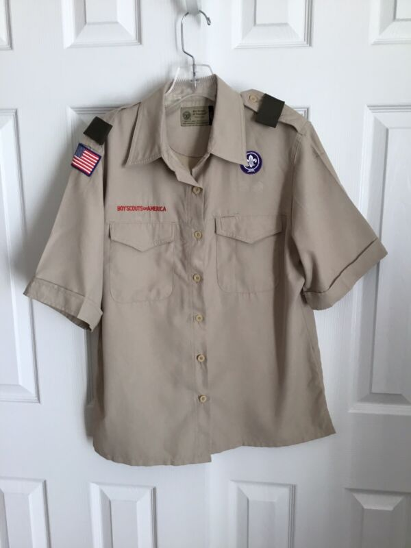 BSA Tan Short Sleeve Polyester Ladies Uniform Shirt Size Ladies Medium