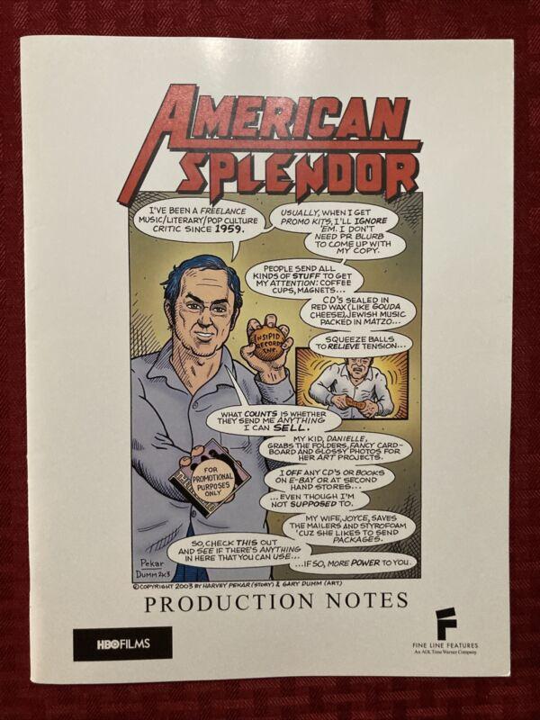 American Splendor Production Notes 2003 Paul Giamatti Hope Davis