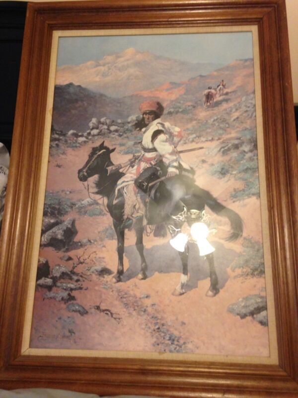 Vintage Frederic Remington Offset Lithograph Framed An Indian Trapper