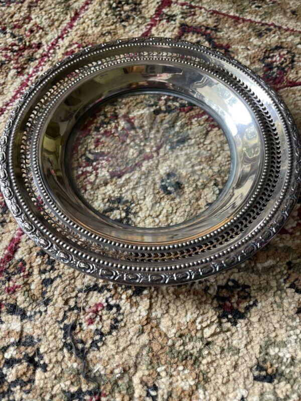 VTG Frank M. Whiting Sterling Silver/Crystal Talisman Rose Lemon Dish Plate Mark