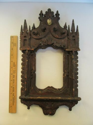 Fantastic Antique Highly Detailed Tramp Art Frame, Gothic / Cathedral Style