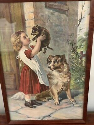 VICTORIAN CHROMOLITHOGRAPH Little Girl With Dove Wood Frame 19 12 x 23 34 Decorative Top Edge Matted In Brown Victorian Wall Art