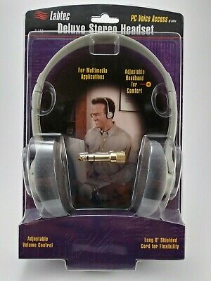 Labtec C-110 Deluxe Multimedia PC Stereo Headset with 3.5 mm gold jack ~SEALED~