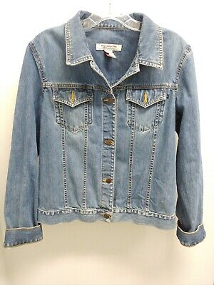 Abercrombie and Fitch Heavyweight Jean Jacket Distressed Button Front Size L