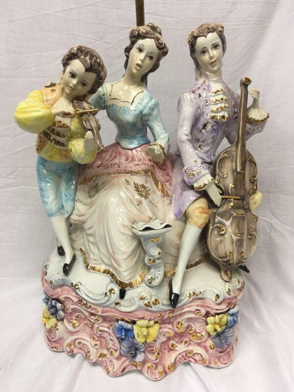 "Vintage Antique Capodimonte Porcelain Lamp Italy Music 42"" Lights Figurine"