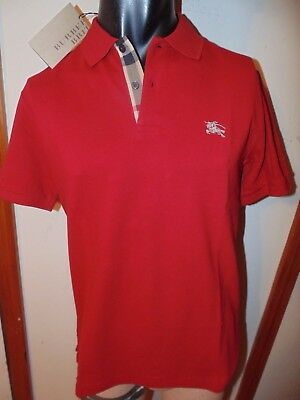 Burberry Brit Mens Military Red Short Sleeve Nova Check Placket Polo Shirt S M