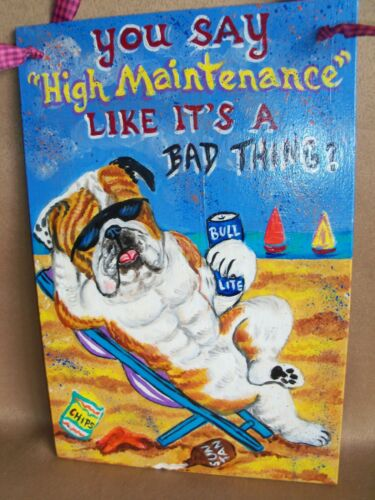 "Custom painted ""High Maintenance"" SIGN from your photo dog art hand painting fun"
