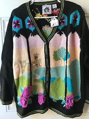 STORYBOOK KNITS NWT Sweater, Size Large,  multi color decorations on black (Storybook Decorations)