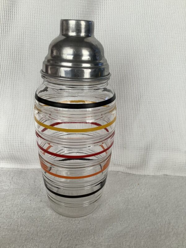 Vintage 1927-33 Anchor Hocking Banded Rings Cocktail Shaker
