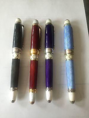 Henrik Wigstrom ULTRA RARE 00/128  Faberge Enamel Fountain Pen Set.