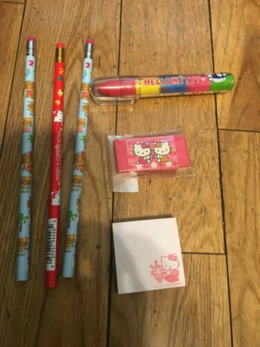 Lot of 3 Hello Kitty Pencils NEW Sanrio Notepad and Two Erasers