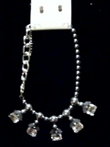 Fashion Chunky Necklace Match Earrings Set Silver Beads Chain Large Gems Costume