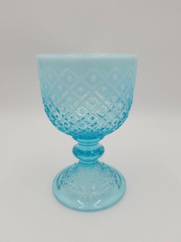 Vintage Blue Opalescent Hobnail Glass Pedestal Dish, Possibly Fenton