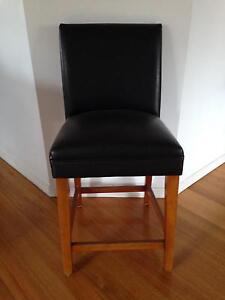 Set of 4 leather & timber stools with back support Kedron Brisbane North East Preview