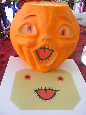 REPLACEMENT FACE FOR  HALLOWEEN PAPER MACHE PUMPKIN JACK-O-LANTERN NEW 'LARGE' - Pumpkin Faces For Halloween