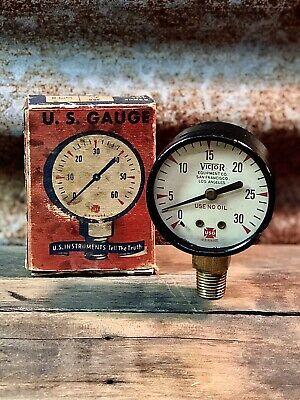 U.s. Gauge Victor Equipment Sfla 2 Vintage Pressure Gauge W Original Box
