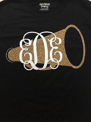Personalized Cheer Megaphones (Monogram Initials Megaphone Shirt Glitter Initials Personalized)