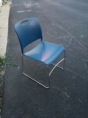 6pc. Lot Of Hercules Hard Vinyl Stacking Chairs With Chrome Legs.color Blue