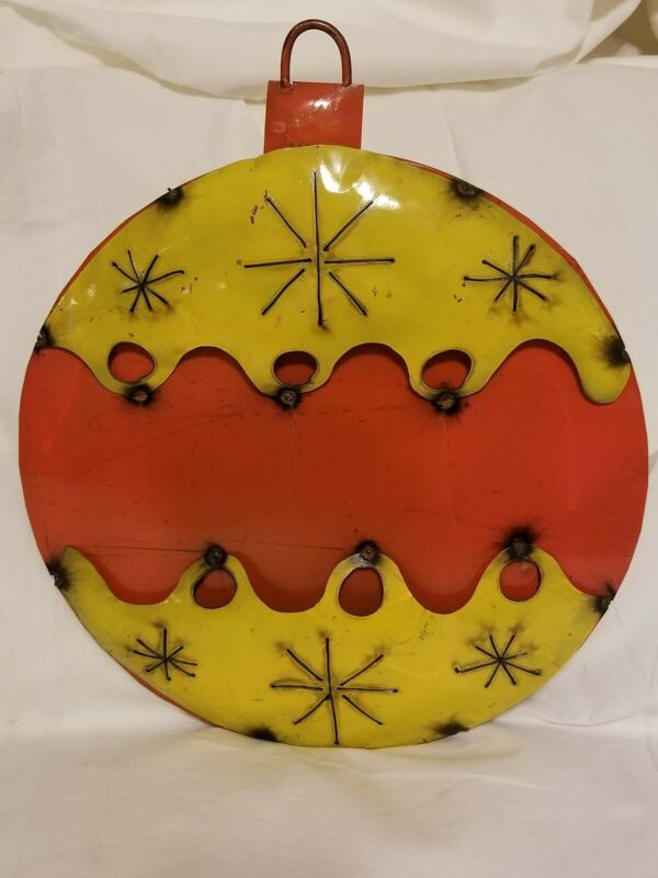 Upcycled Metal Christmas Ornament Yard/Garden Decor Yellow/Orange Rustic