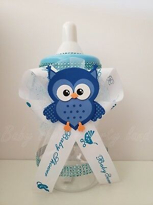 Baby Shower Owl Centerpiece Baby Bottle Large Boy Cake Topper Decor Piggy Bank - Owl Boy Baby Shower
