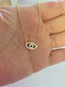 925 Sterling Silver Evil Eye Hamsa Cubic Zirconia Gold Plated Necklace 16