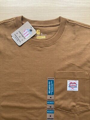 CARHARTT Heritage K87 Pocket T-Shirt Brown WIP Made in USA Men's Sz Medium NEW!