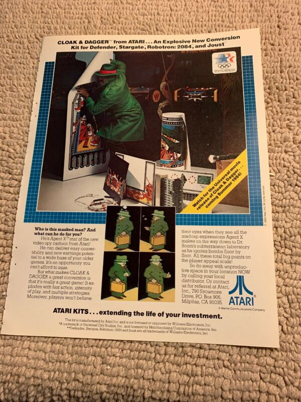 "11- 8 1/4"" Cloak and Dagger Atari arcade video game AD FLYER"
