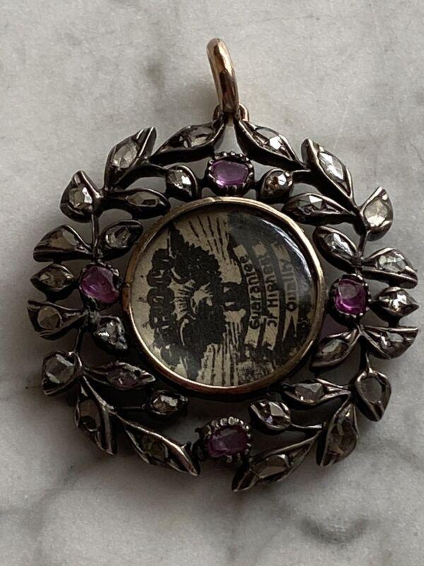 Antique Edwardian Rose Gold & Silver Ruby & Diamond Locket Pendant
