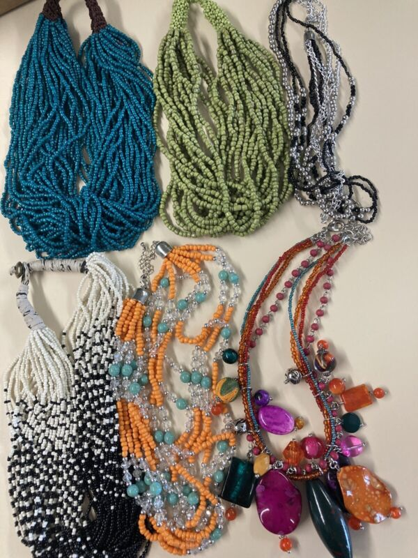 Seed Bead Necklace Lot Blue Green White Wrapped Bead One Pound