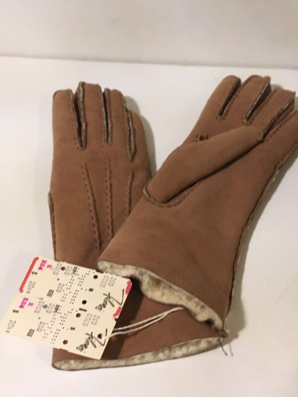 Vtg Lambs Wool Brown Ladies Size 7 Gloves Made in England for Filene