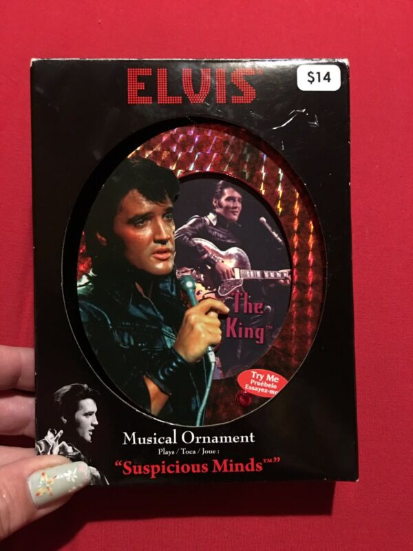 Elvis Illuminated Musical Red Christmas Ornament Suspicious Minds