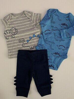 Carters Baby Boys Bodysuits Pants Set Size NB 3 6 9 12 18 Months Blue Dinosaur
