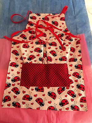Children's LADY BUGS - Two Oven Mitts & Apron, Red & White, Quilted, 100% Cotton ()