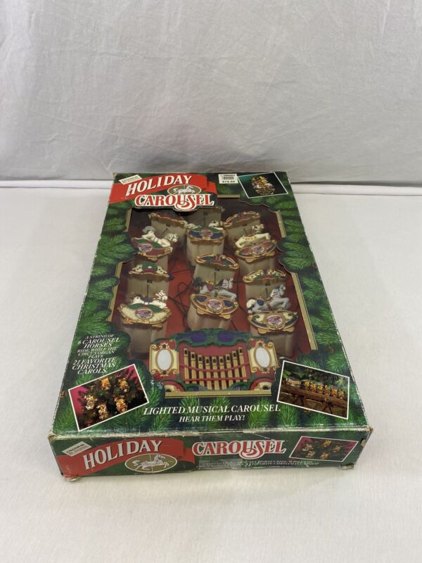 Vintage Mr. Christmas Holiday Carousel Horses Musical Decoration in Box Works!
