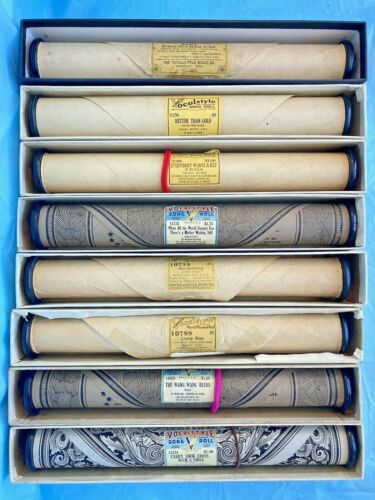 Vintage Vocalstyle Player Piano Rolls, previously played - Bundle of 8 Rolls