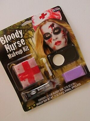BLOODY NURSE Costume Makeup KIT Cap Hat Bloody Scab Tray Sponge ZOMBIE NOS - Bloody Makeup